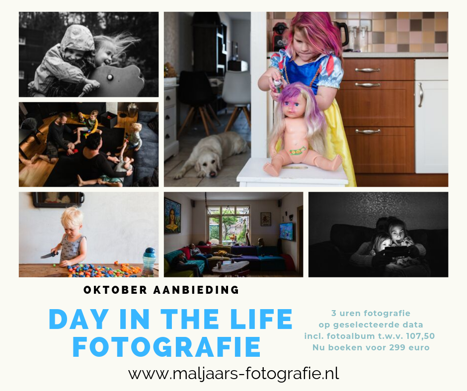 aanbieding day in the life reportage, documentaire fotografie voor gezinnen