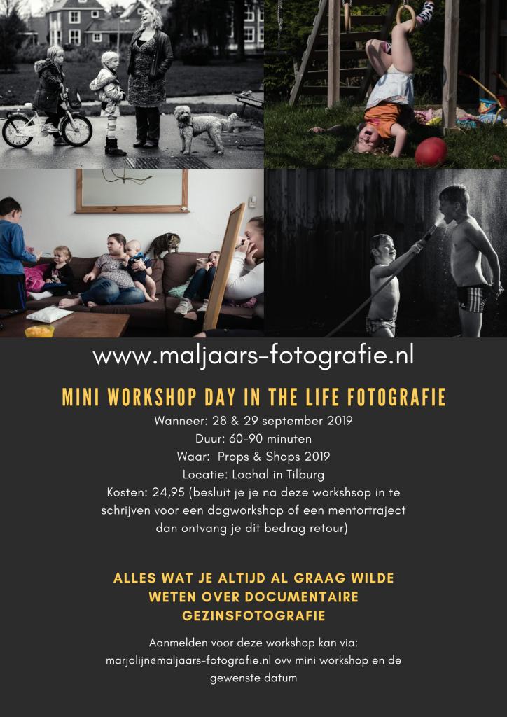 Workshop day in the life fotografie tijdens het event van props en shops